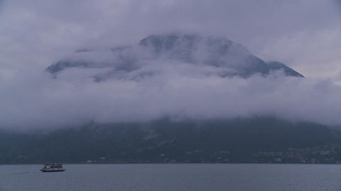 A morning ferry boat on Lake Como, Italy cruises p Stock Video Footage