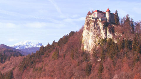 A beautiful castle in the Alps, Slovenia Stock Video Footage