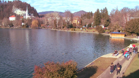 A sunny day on the shores of Lake Bled, Slovenia Stock Video Footage