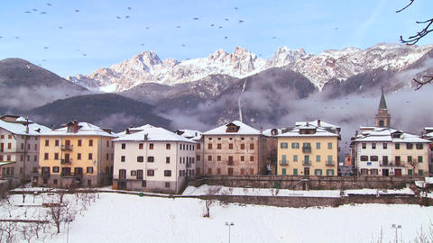A snowbound village in the Alps in Austria, Switze Footage