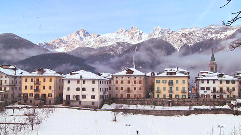 A snowbound village in the Alps in Austria, Switze Stock Video Footage