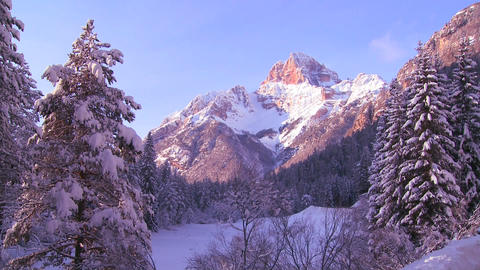A beautiful early morning scene in the Swiss Alps Stock Video Footage