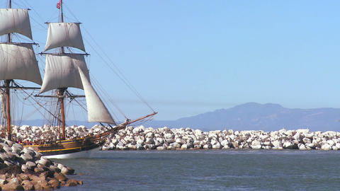 A tall master schooner sails on the high seas Footage