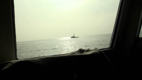 A ship navigates on the open seas Stock Video Footage