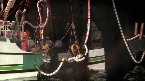 A crew member reaches into a fishing vessels net Stock Video Footage
