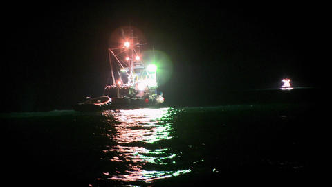 A fish cutter works at night with lights on Stock Video Footage