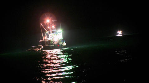 A fish cutter works at night with lights on Footage
