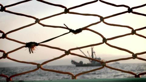 Fish-cutters navigate across open waters Stock Video Footage