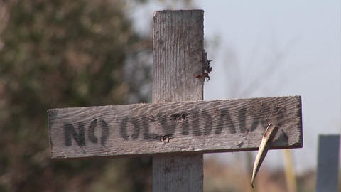 """An old dirty wooden cross with the marking No Olvidado""""... Stock Video Footage"""