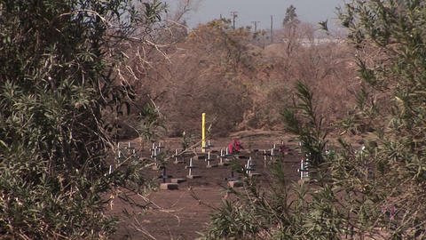 A field of wooden crosses is being viewed from a hillside across from a busy roadway Footage