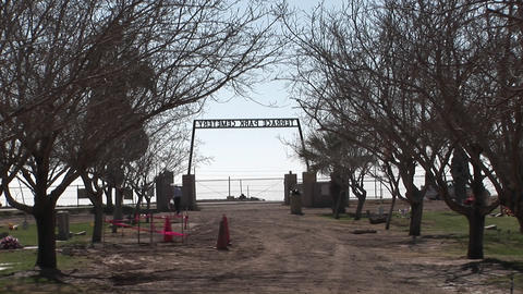 A solitary visitor walks around the cemetery Stock Video Footage