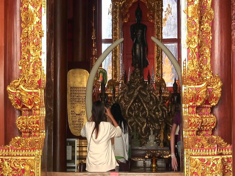 A young woman enters a Buddhist temple and sits to and begins to pray Footage