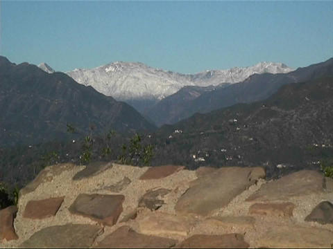 A map of the Ojai Valley sits at the top of a mountain Stock Video Footage
