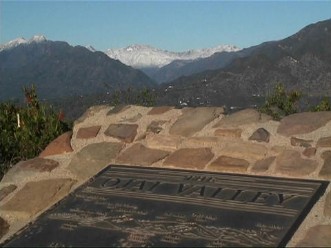 A map of the Ojai Valley sits at the top of a mountain Footage