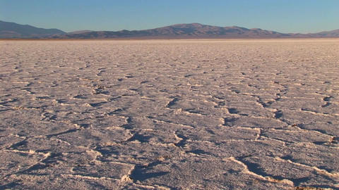 Salt Flat in Alto Plano Argentina with distant mountains panning Footage