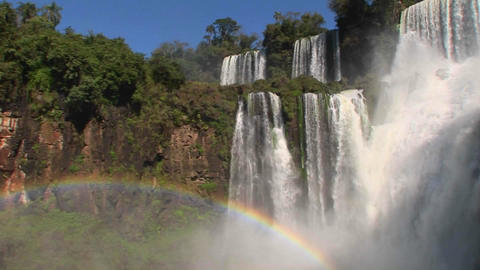 Iguacu Falls with rainbow in foreground Stock Video Footage
