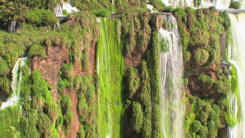 Zoom out from Iguacu Falls in Argentina reveals many rivulets and smaller waterfalls Footage