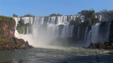 A wide shot of beautiful Iguacu Falls Stock Video Footage