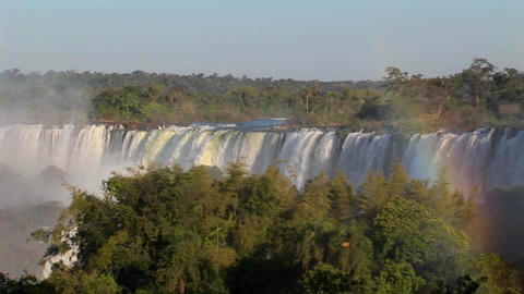 A slow pan across beautiful Iguacu Falls at the Brazil... Stock Video Footage