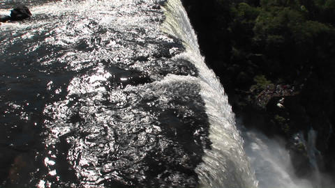 Pan across a perspective looking ove rthe rim of Iguacu... Stock Video Footage