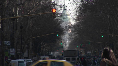 Buenos Aires, Argentina town with traffic lights and people Stock Video Footage
