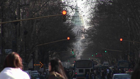 Buenos Aires, Argentina town with traffic lights and people Footage
