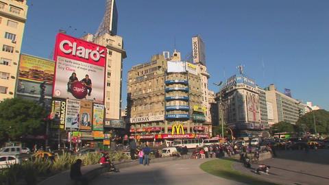 Buenos Aires, Argentina capitol Nuevo de Julio buildings Stock Video Footage