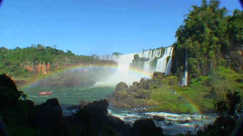 Argentina Iguazu Falls wide angle with rainbow and boat Footage