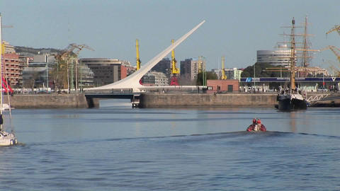 Buenos Aires harbor with sail boat and bridge Puerto Madero Stock Video Footage