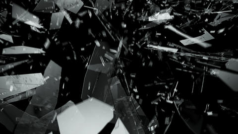 Pieces of destructed Shattered glass in slow motion. Alpha matte 4k Animation
