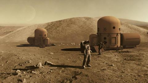 Astronauts on mars colony Footage