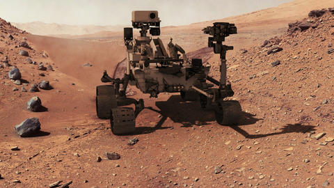 Mars curiosity rover moving closup Footage