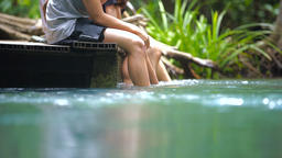 18A group of friends on vacation at Emerald Pool Thailand Footage