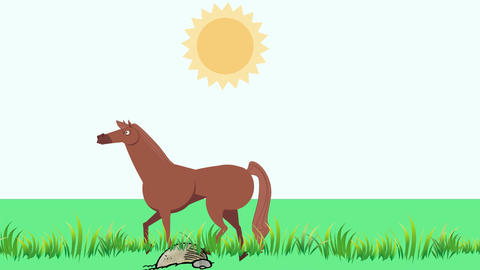 Cartoon Horse Walking in Grass (1920x1080): Looping Animation