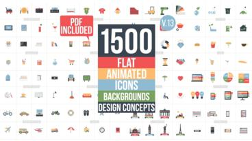 Flat Animated Icons Library After Effects Projekt