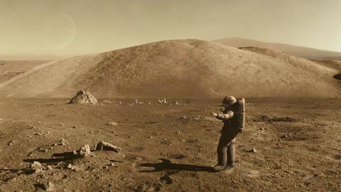 Astronaut doing a ballet dance on mars Footage