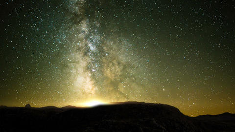 Day To Night Time Lapse - Milky Way In A Starry Night Footage