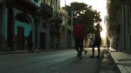 Children playing football on the old Havana street Footage