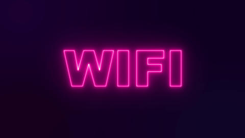wifi pink neon signboard. Night neon light Live Action