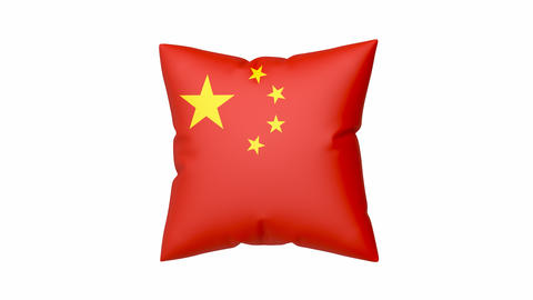 Chinese flag on pillow Animation