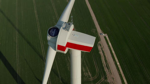 AERIAL: Close up of Wind Turbine under construction being…, Live Action