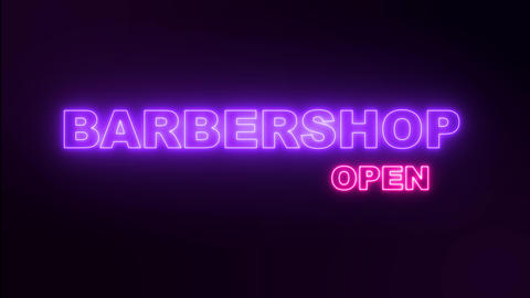 Night neon sign barbershop . Open barbershop neon text Live Action