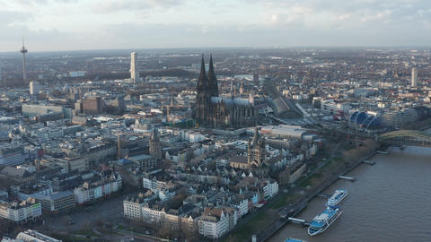 AERIAL: Wide Shot of Cologne Germany from the air with majestic Cathedral on Live Action