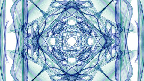 Green and blue smoke patterns, fractal symmetric ornament with streaming motion Animation