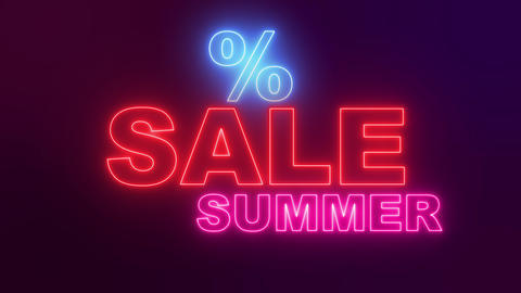 Summer Online Sale. Neon text for online shopping Live Action