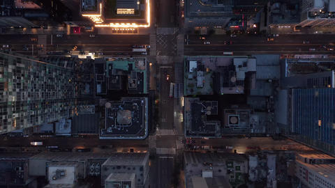 AERIAL: Birds perspective of New York City Skyscrapers street, road in Manhattan Live Action