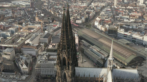 AERIAL: Beautiful Cologne Cathedral in beautiful hazy Sunlight Live Action