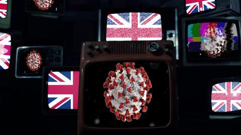 UK flag and Coronavirus on Retro TVs. Coronavirus Pandemic Outbreak Concept Live Action