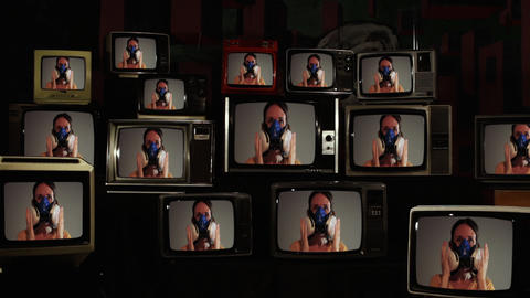 Woman putting on Respirator Mask on Face Seen on many Retro TVs. COVID-19 Global Pandemic Concept Live Action