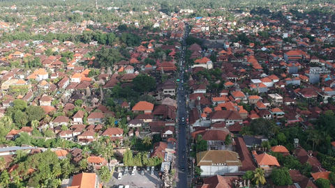 Ubud Center from above, Ubud Center from a height of flight scooters and cars on Live Action